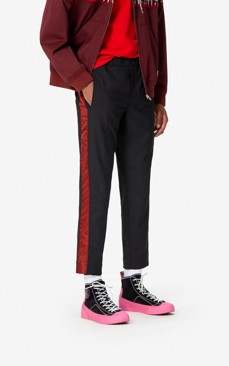 BLACK Trousers with side stripes for men KENZO