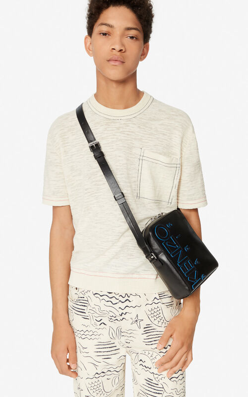 BLACK KENZO Logo crossbody bag for women