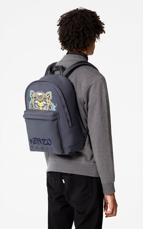 ANTHRACITE Large Neoprene 'Dragon Tiger' backpack for women KENZO