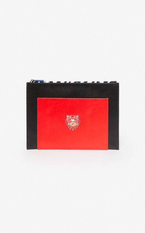 BLACK 'Tiny Tiger' A4 leather clutch 'Exclusive Capsule' for unisex KENZO