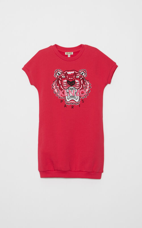DEEP FUSCHIA Tiger Sweatshirtdress  for women KENZO