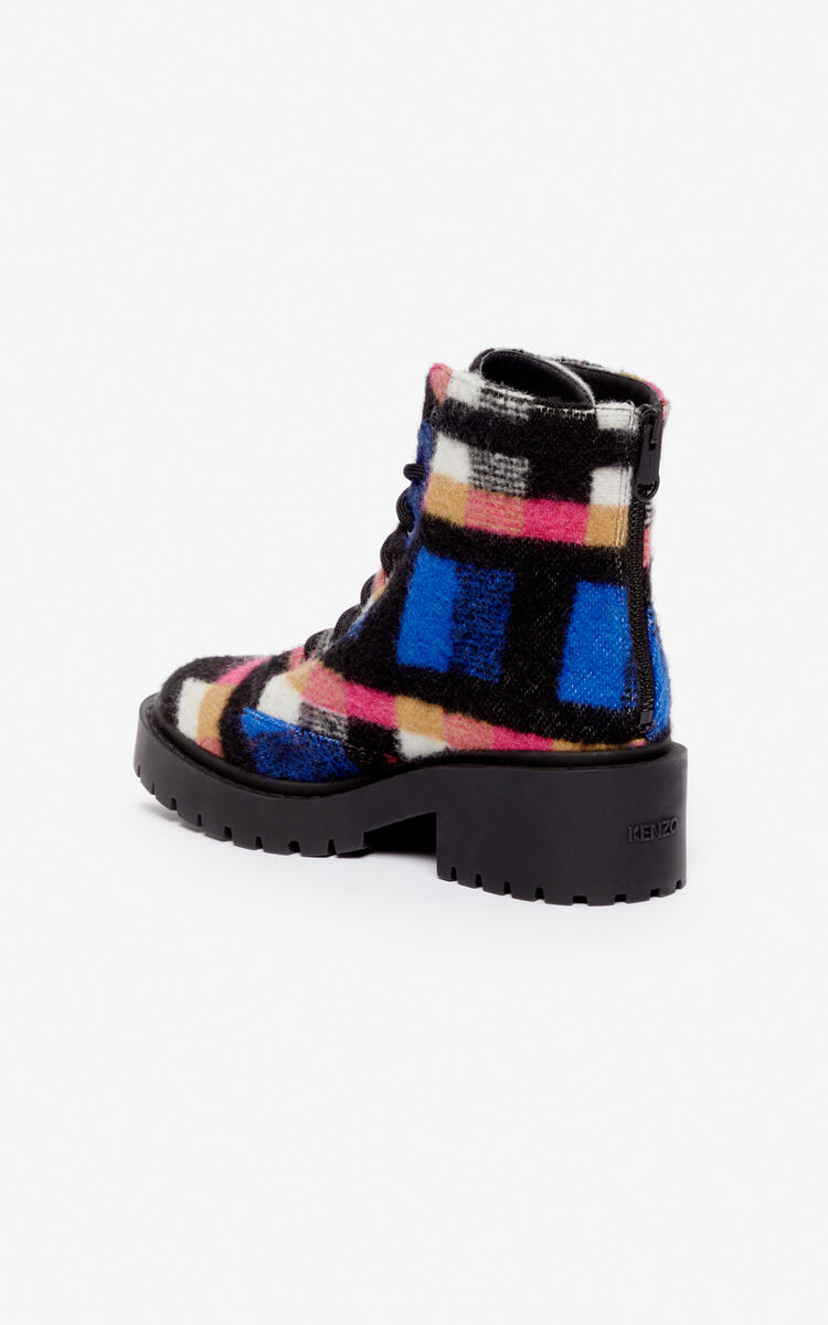 SLATE BLUE Checked Pike Boots for unisex KENZO