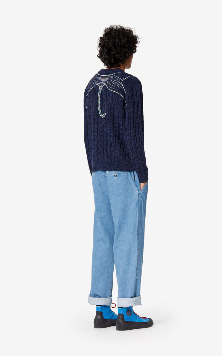 NAVY BLUE 'Claw Tiger' wool jumper for women KENZO