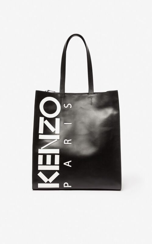 BLACK KENZO logo tote bag for unisex