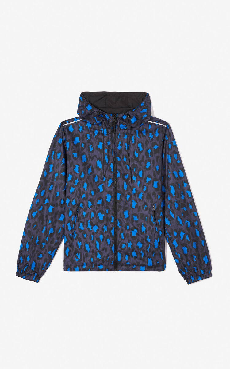 BLACK Reversible windbreaker with KENZO Logo for men