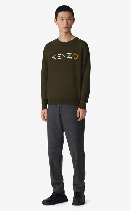 KHAKI KENZO Logo jumper for men