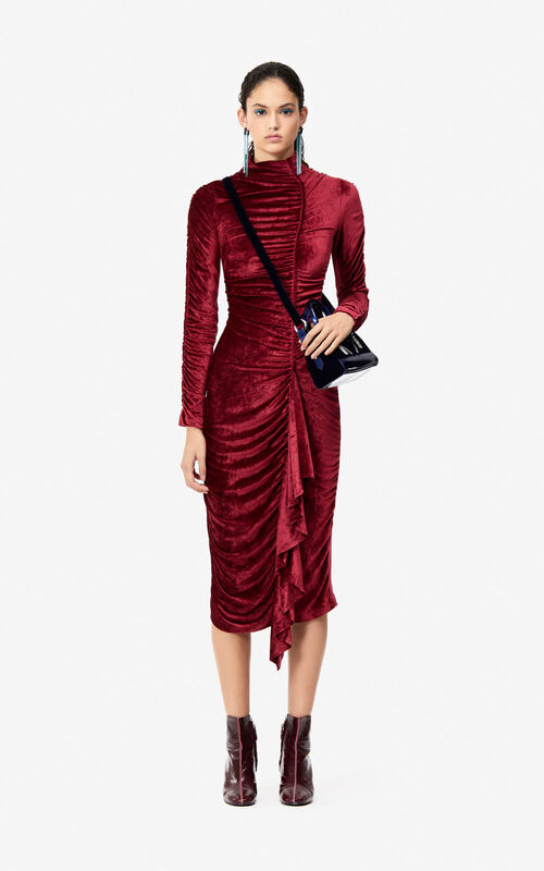 PEONY RED 24 Frilled velvet dress 'Holiday Capsule' for women KENZO