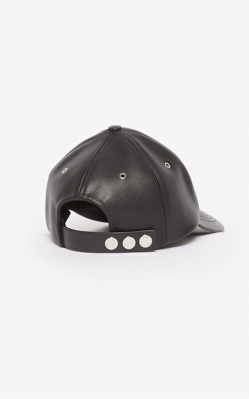 BLACK Leather Eye baseball cap for unisex KENZO