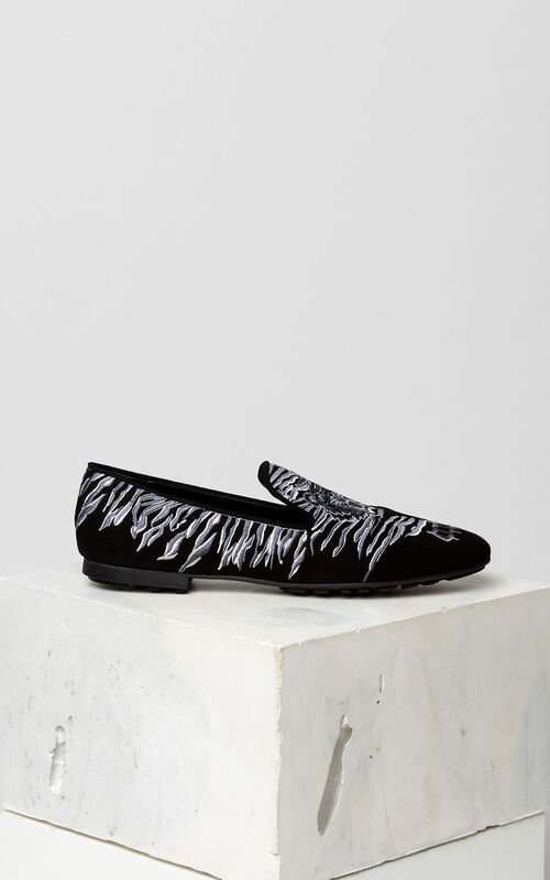BLACK Custer 'Crawling Tiger' moccasins for women KENZO