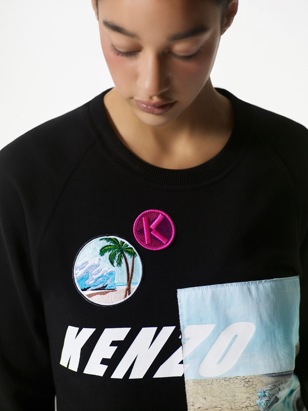 BLACK KENZO Sweatshirt with badges for women