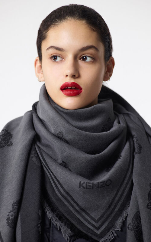 BLACK Large two-tone Tiger scarf   for unisex KENZO