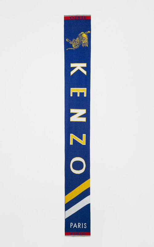FRENCH BLUE 'Jumping Tiger' sporty cotton scarf for unisex KENZO