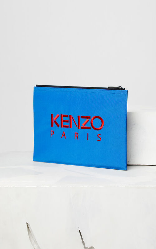 FRENCH BLUE A4 Tiger Canvas clutch for men KENZO