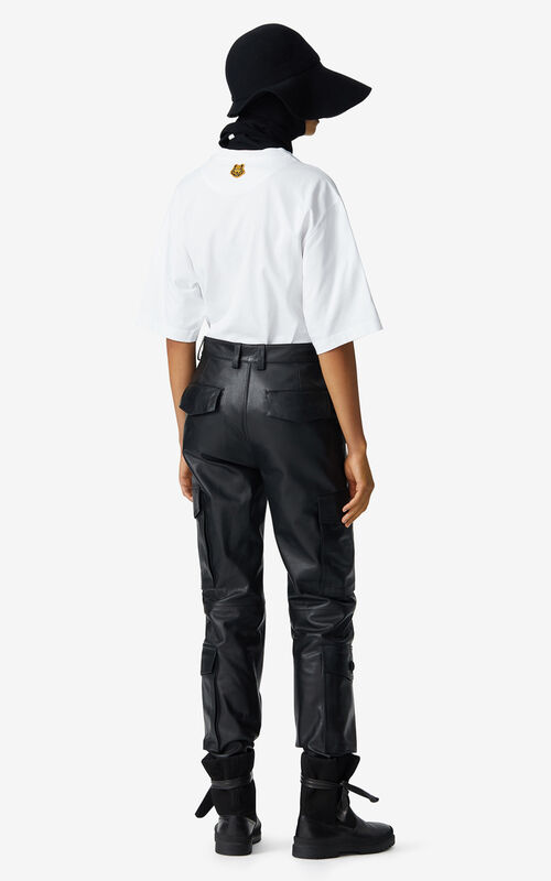 BLACK Leather cargo trousers for women KENZO