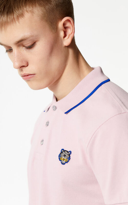 PASTEL PINK Tiger polo shirt for men KENZO