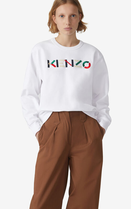 WHITE KENZO Logo sweatshirt for women