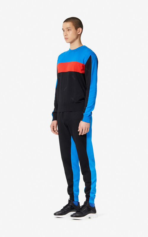 BLACK Two-tone knit jogging trousers for men KENZO