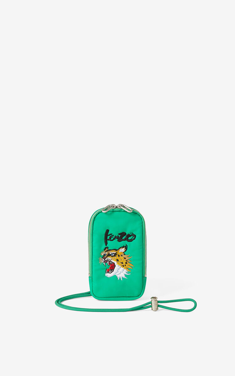 GREEN KENZO x KANSAIYAMAMOTO phone pouch with strap for women