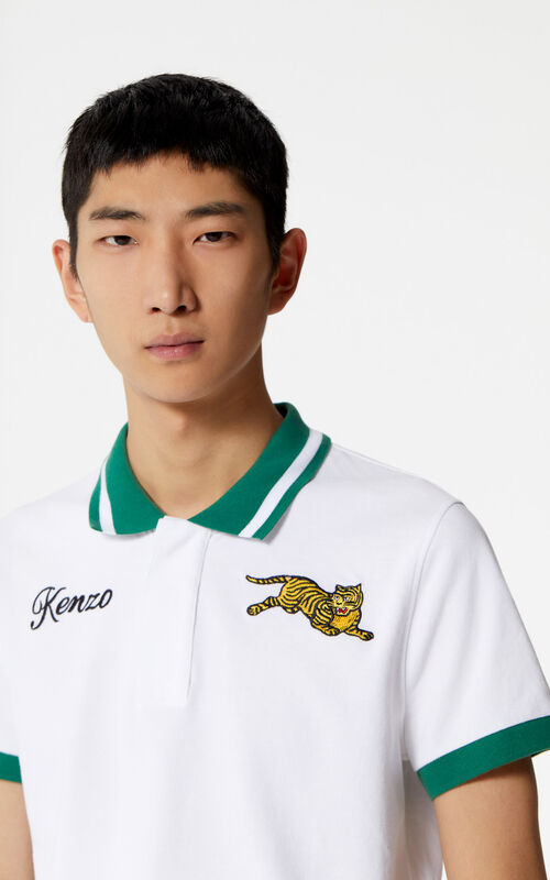 WHITE 'Jumping Tiger' polo shirt for men KENZO