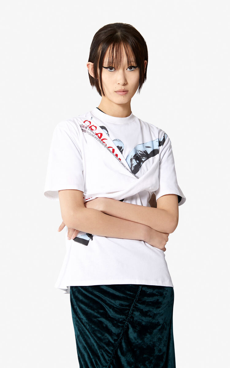 WHITE 'Dragon Kick' T-shirt for women KENZO