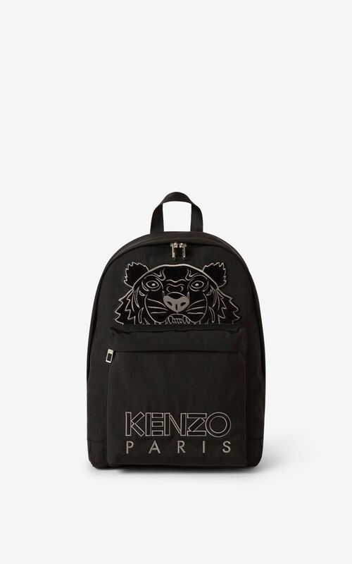 BLACK Kampus Tiger canvas rucksack for unisex KENZO