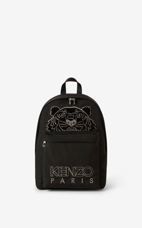 BLACK Kampus Tiger canvas rucksack for women KENZO