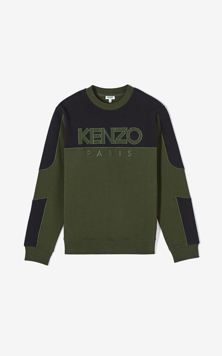 DARK KHAKI KENZO Paris dual-fabric sweatshirt for men