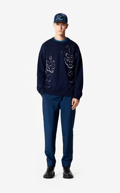 MIDNIGHT BLUE 'Double Tiger' sweatshirt for men KENZO