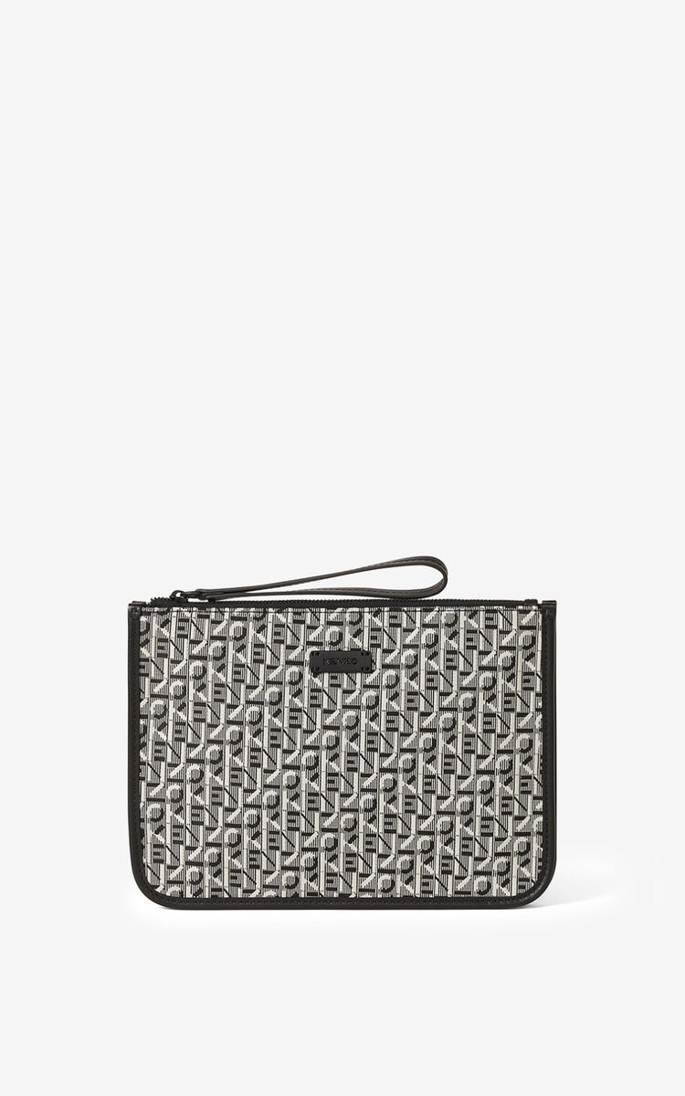 MISTY GREY Courier gusseted jacquard clutch for unisex KENZO