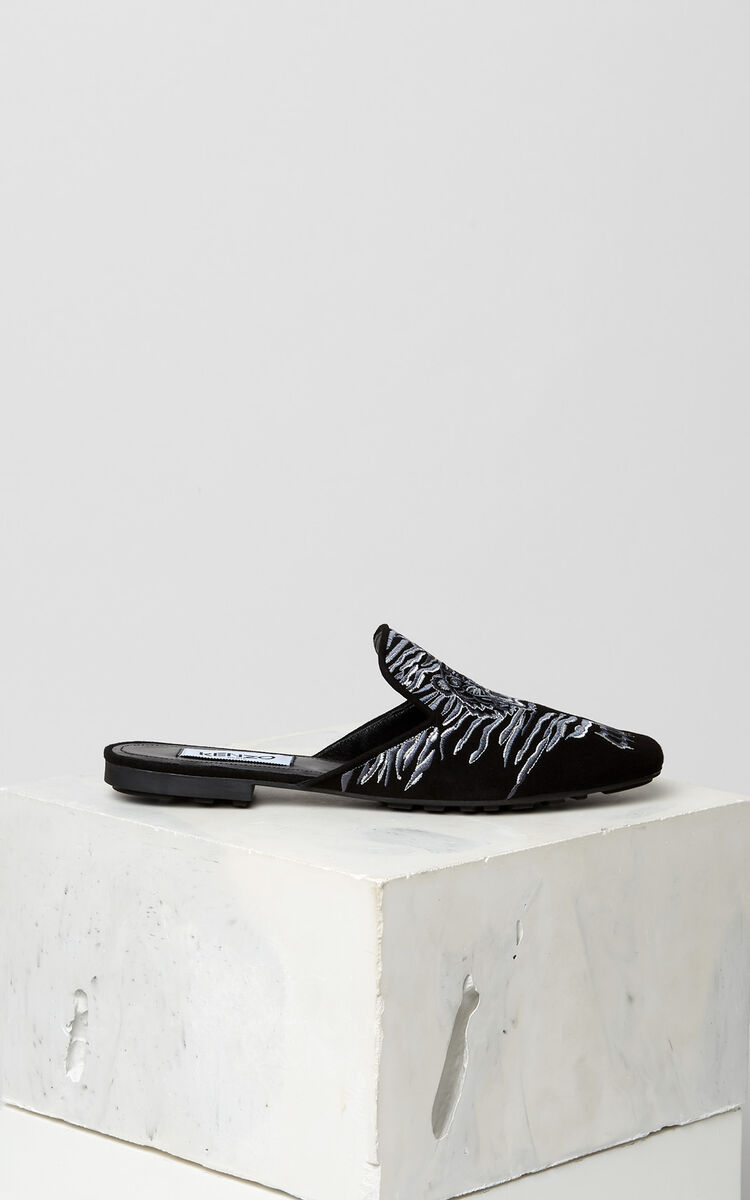 BLACK Custer 'Crawling Tiger' mules for women KENZO