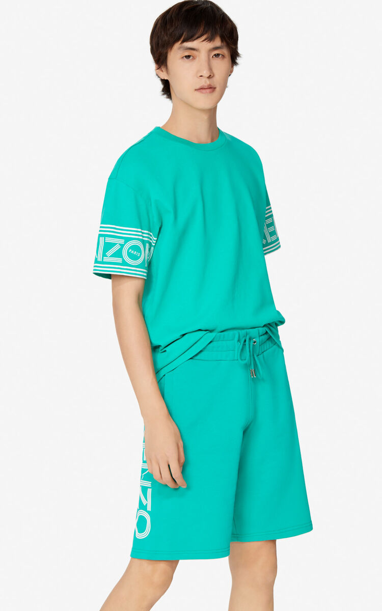 MINT KENZO Logo Shorts for men