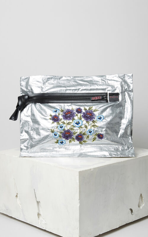 SILVER 'Cheongsam Flower' embroidered clutch for unisex KENZO