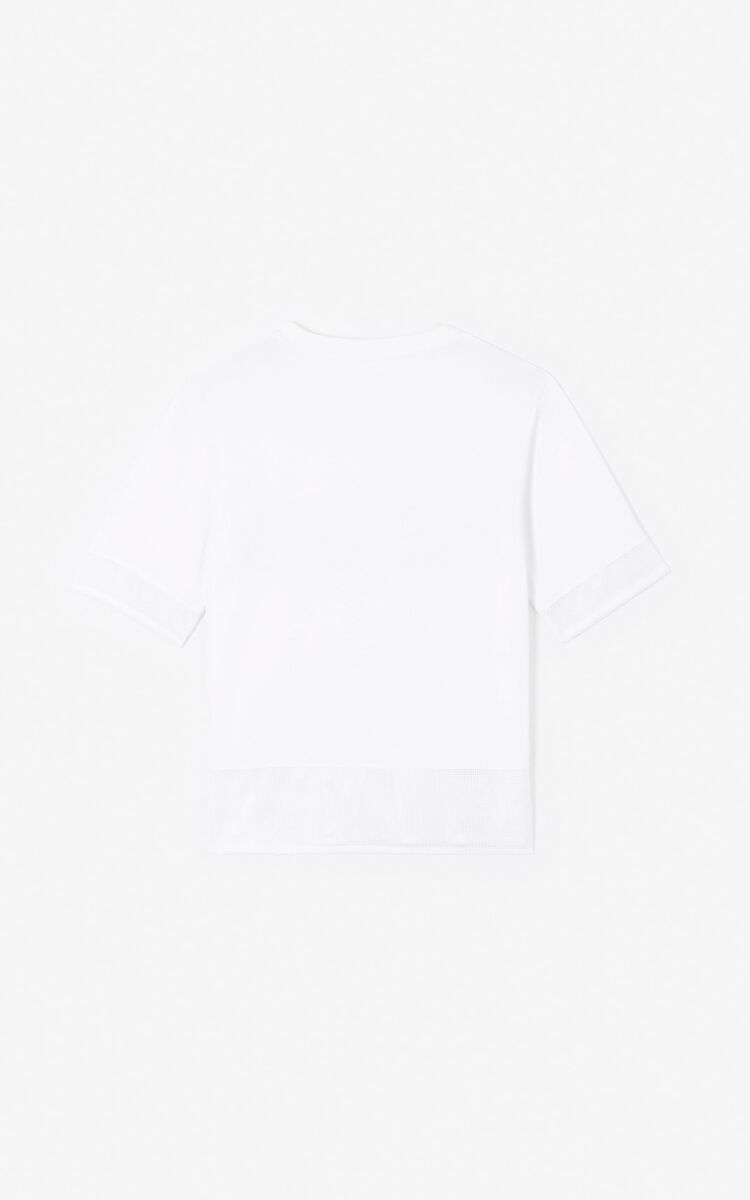 WHITE KENZO logo dual-material T-shirt  for women
