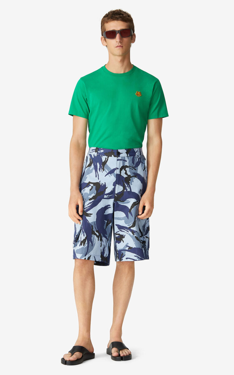 BLUE 'Tropic Camo' cargo shorts for women KENZO