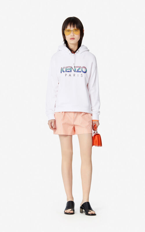 WHITE KENZO Paris hooded sweatshirt for women