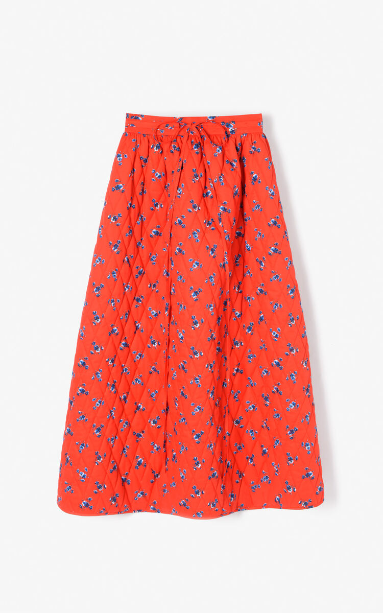 MEDIUM RED Quilted 'May Flowers' skirt for women KENZO