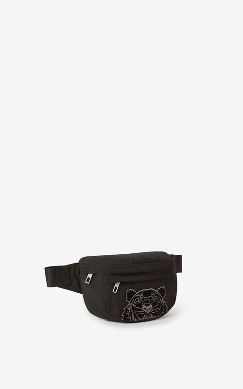 BLACK Kampus Tiger canvas belt bag for women KENZO