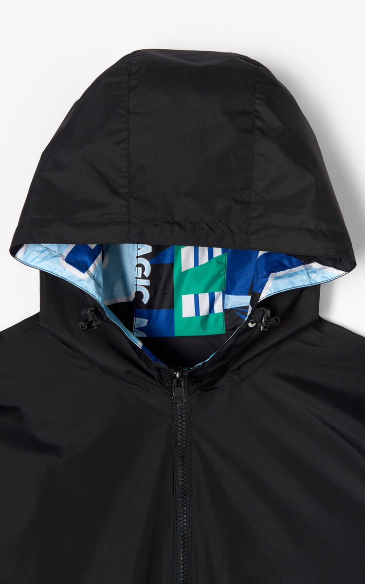 BLACK Reversible Windbreaker with Hood for men KENZO