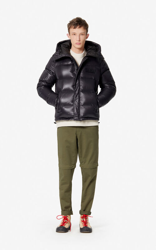 BLACK Hooded padded puffer jacket for men KENZO
