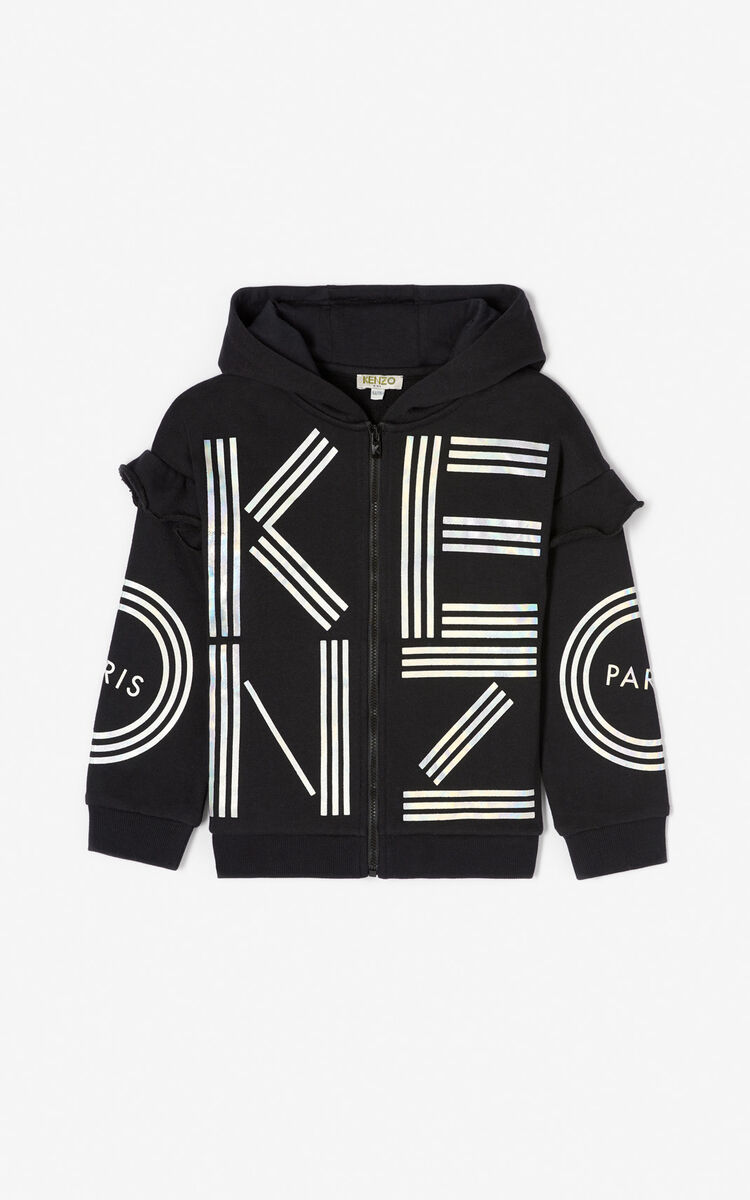 BLACK KENZO logo zipped sweatshirt for men