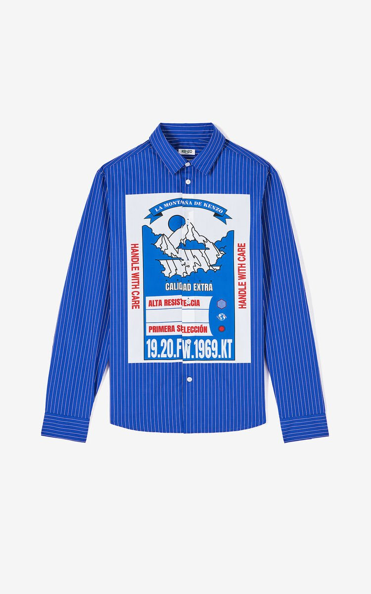 FRENCH BLUE 'KENZO Mountain' striped slim-fit shirt for men