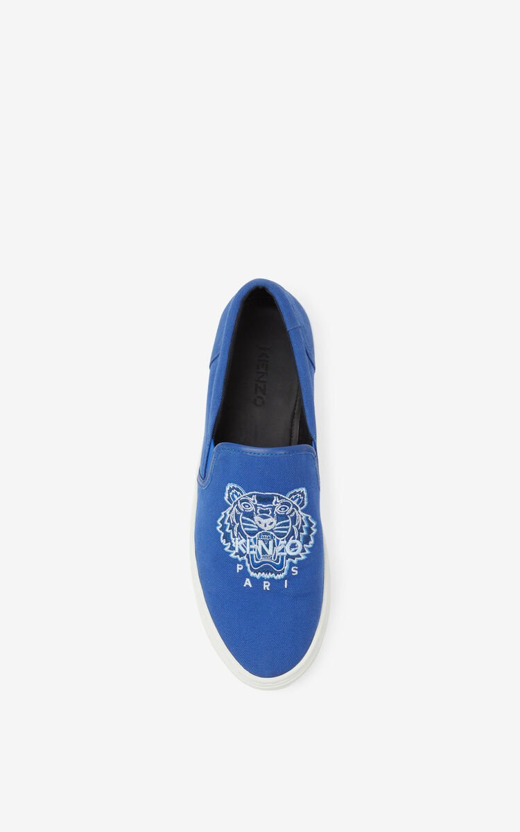 ROYAL BLUE K-SKATE Tiger canvas slip-on sneakers for unisex KENZO