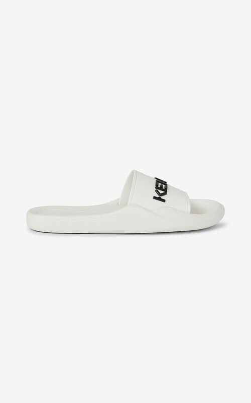 WHITE Pool KENZO Logo flip flops for women