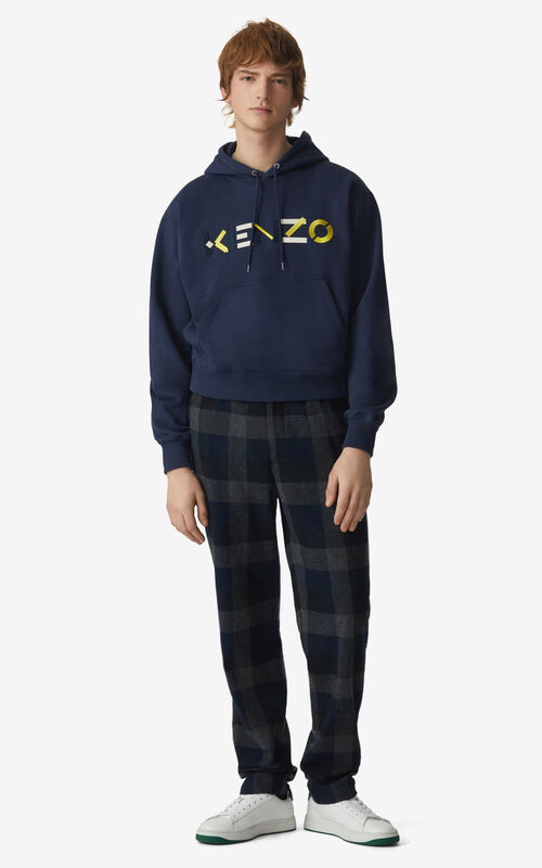 NAVY BLUE KENZO Logo hoodie for men