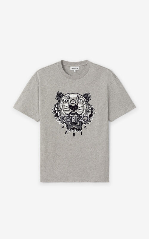 PEARL GREY Oversized embroidered Tiger shirt KENZO