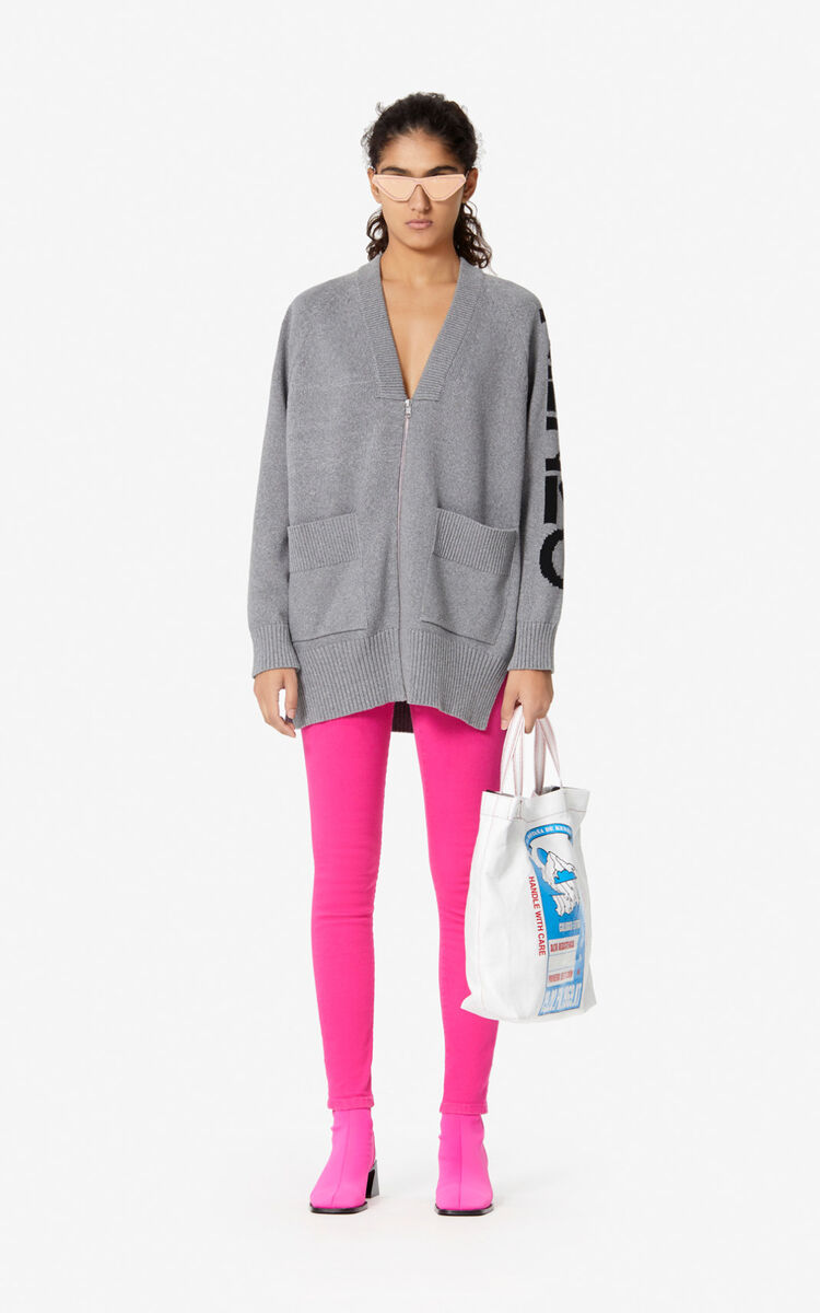 PALE GREY KENZO zipped cardigan  for global.none