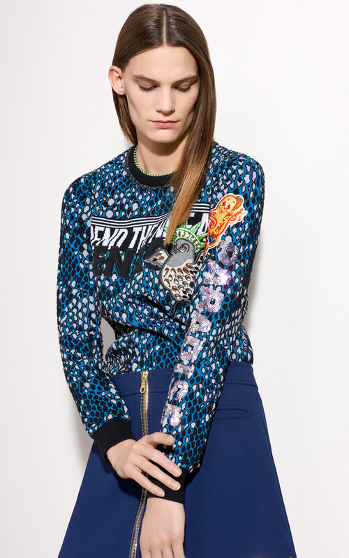 Snake Embroidered Sweater, MIDNIGHT BLUE, KENZO