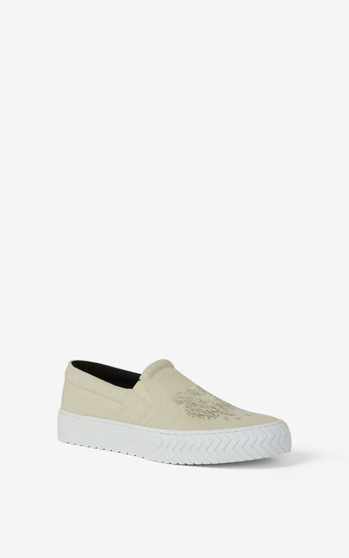ECRU Canvas slip-on K-Skate Tiger trainers for unisex KENZO