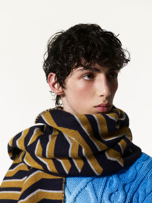 MIDNIGHT BLUE Geo Tiger Scarf for men KENZO