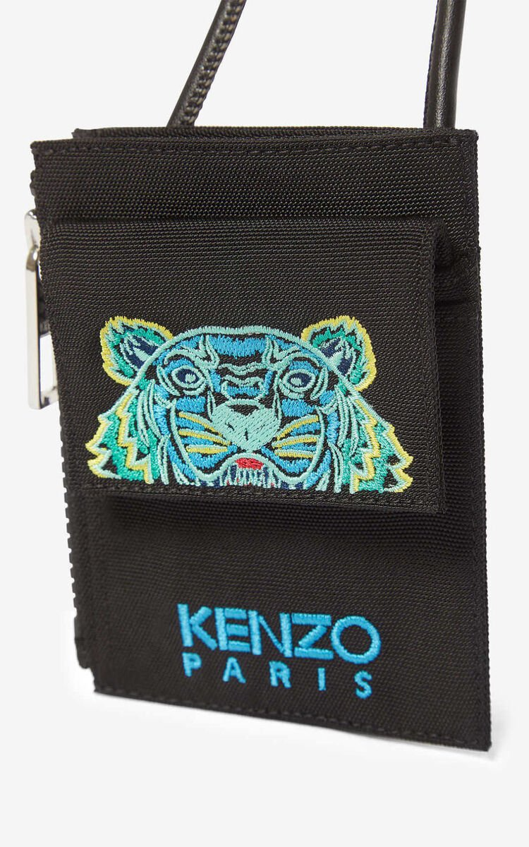 BLACK Tiger cardholder with strap for men KENZO